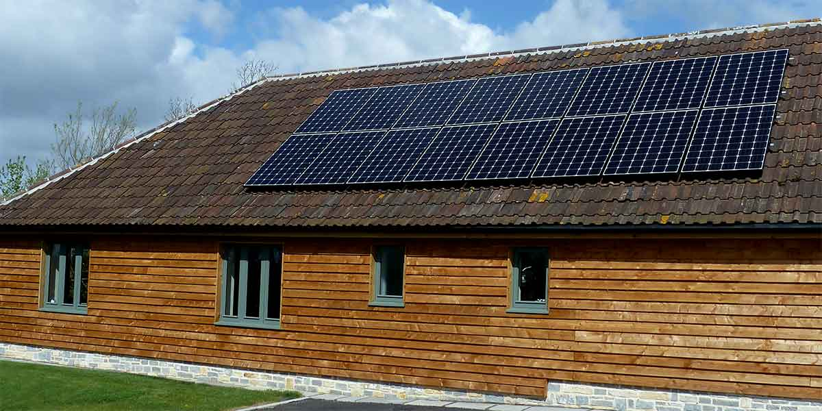 Solar PV Panels on the Roof of a Rural Office Development